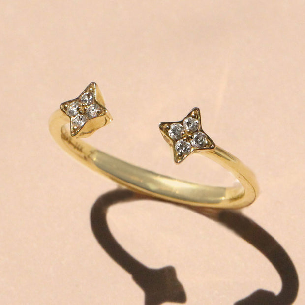 Enlarged Mercury Yellow Gold Open Ring