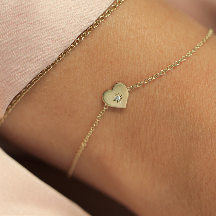 Heart Bracelet White Diamond