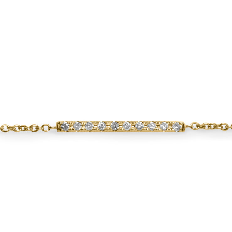 gold bracelet bar with dimonds