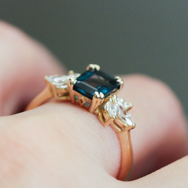 Daphne Ring With Marquise Diamonds and Blue Topaz