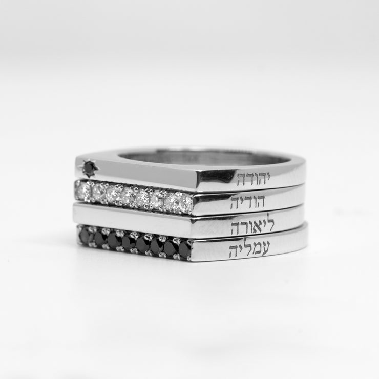 stacking set white gold rings