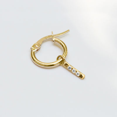 Hoop + Valerie Gold Earrings with White Diamonds (Single)
