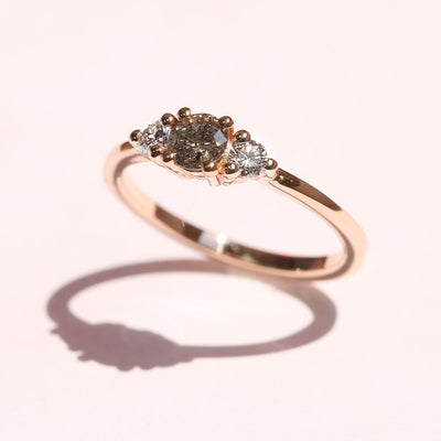 Audrey Ring Grey & Black 4.5 mm Diamond