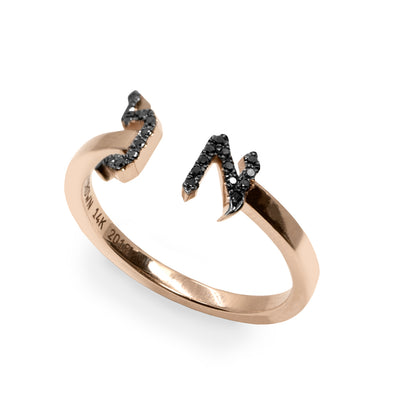 Open Encrusted Aleph-Bet Ring