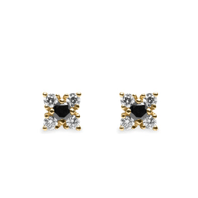Mini Eliana Gold Earrings Black and White