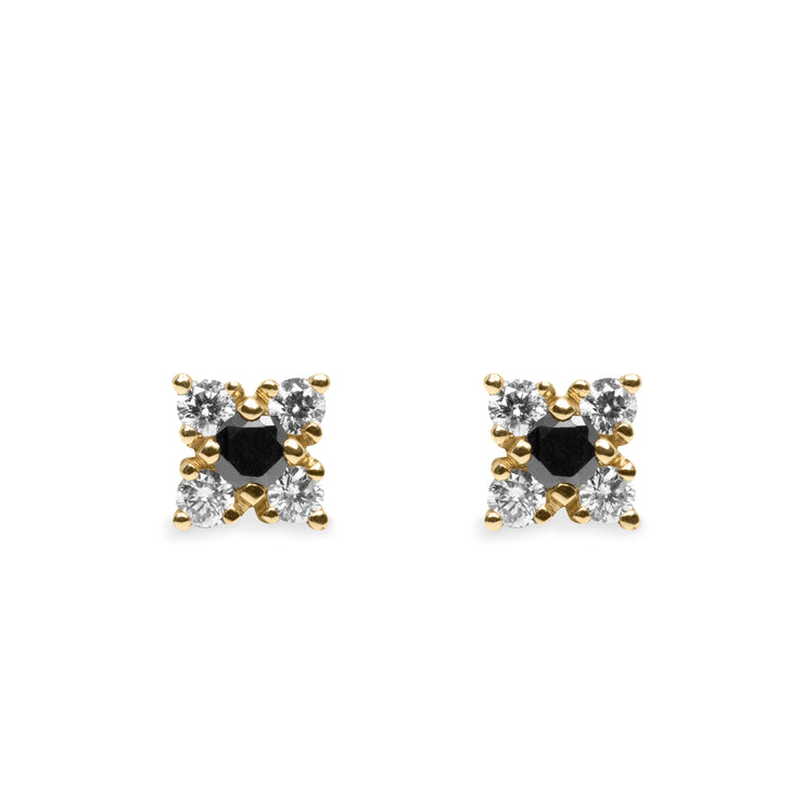 black and white mini stud earrings