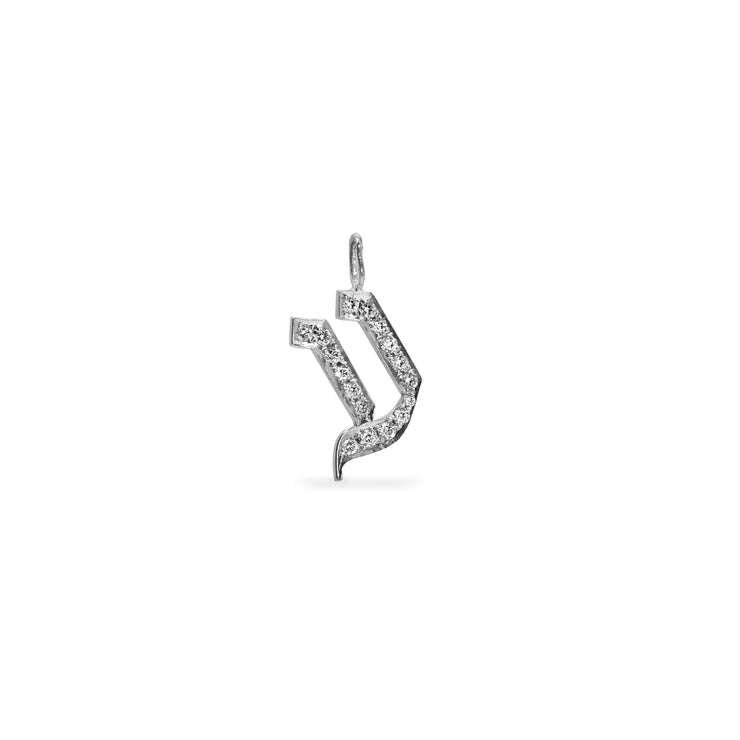 hebrew letter white gold with diamonds