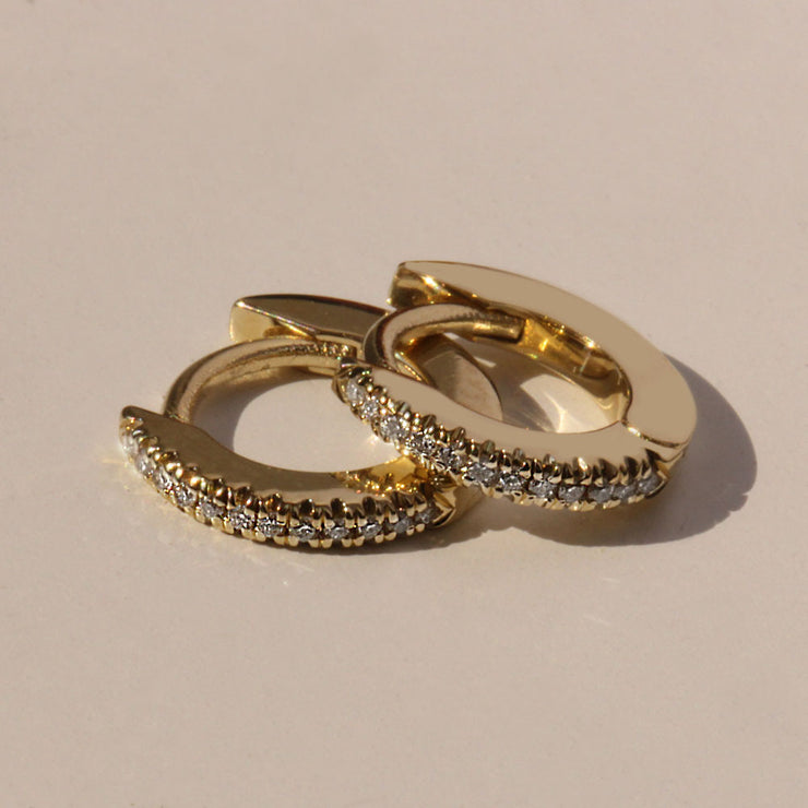 Small Hoop Gold Earring with White Diamonds (Single)
