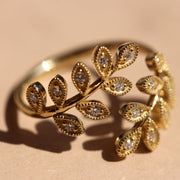 Open Leaf Ring Diamonds