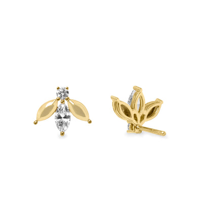 lady bug gold earrings white diamond