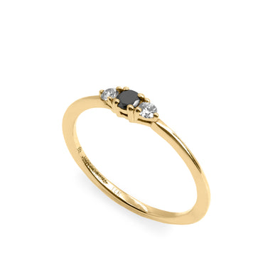 Audrey Ring White & Black 3 mm Diamond