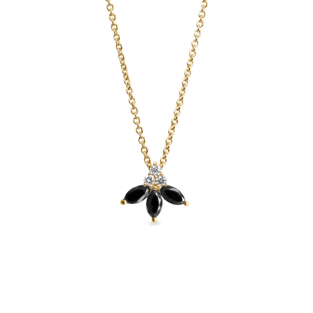 black marquise diamonds necklace