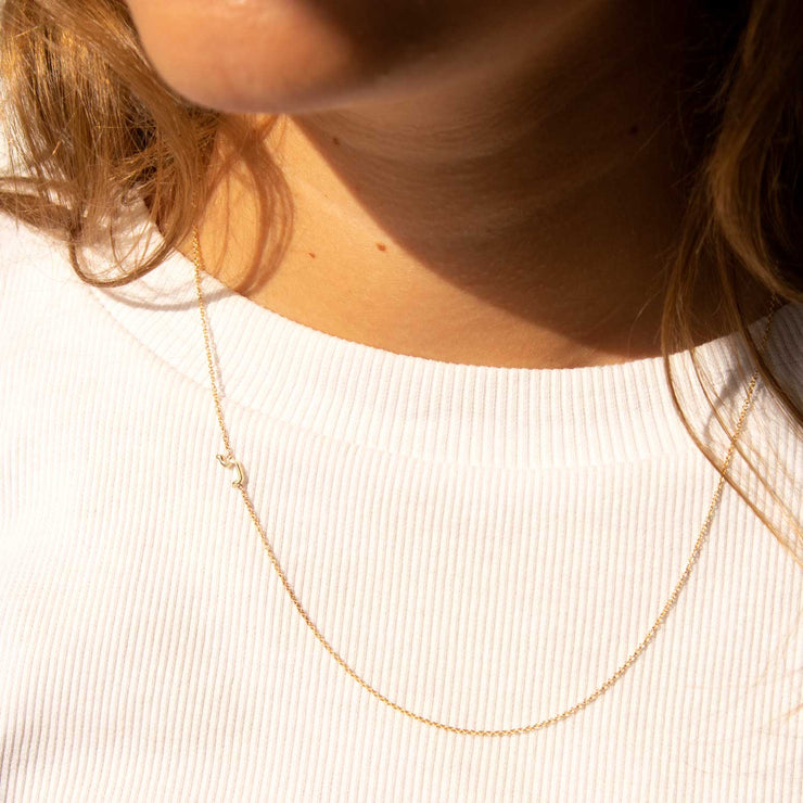 mini hebrew letter gold necklace
