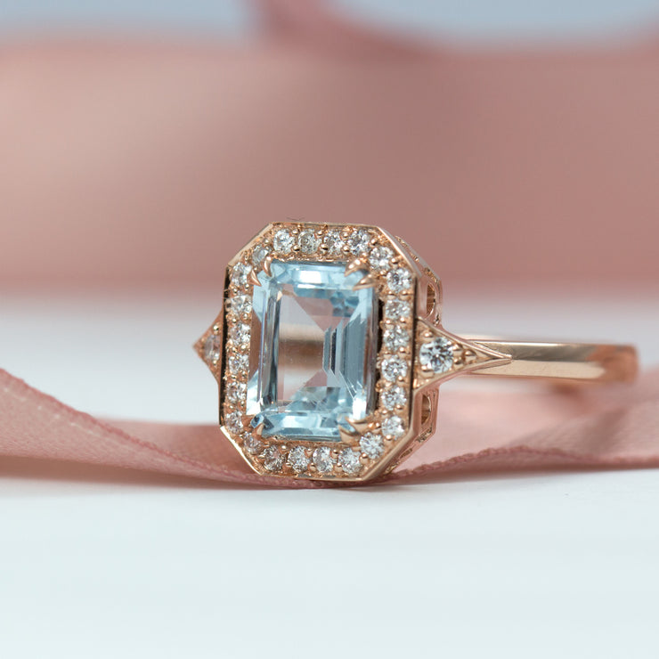 engagement ring with aquamarine