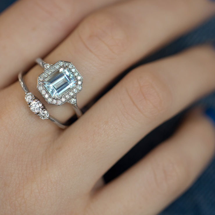 large aquamarine halo engagement ring