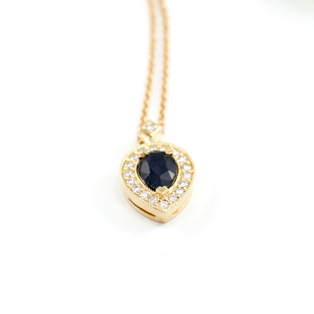 Luna Necklace with Black Diamond