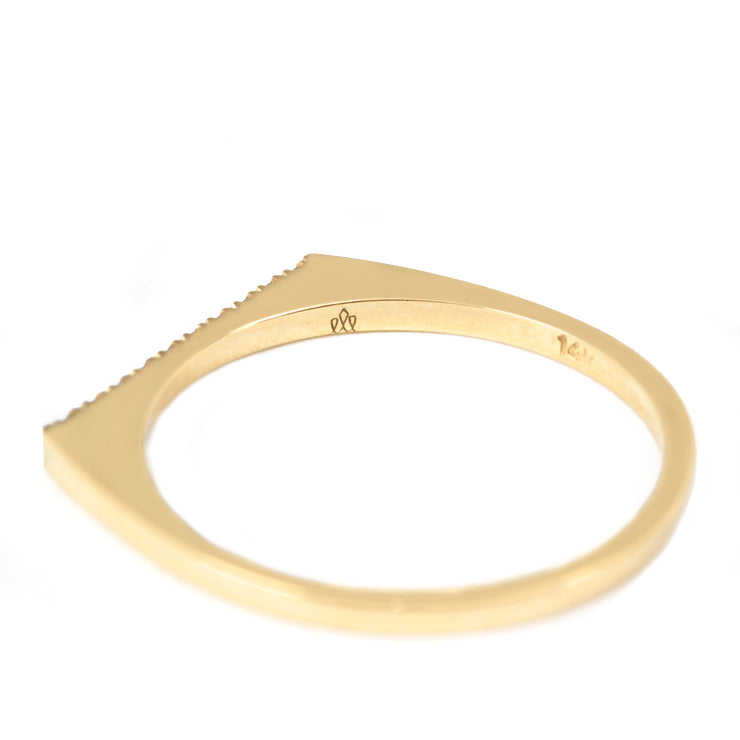 gold thin ring with row of white diamonds