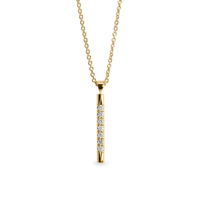 yellow gold bar pendant with diamonds