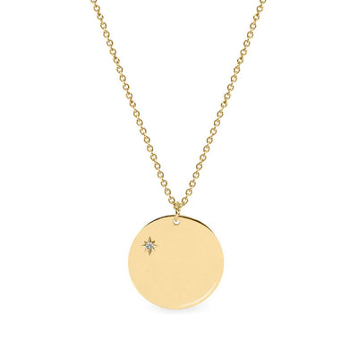 Chiara Gold Necklace 16mm with Side Diamond Star Setting