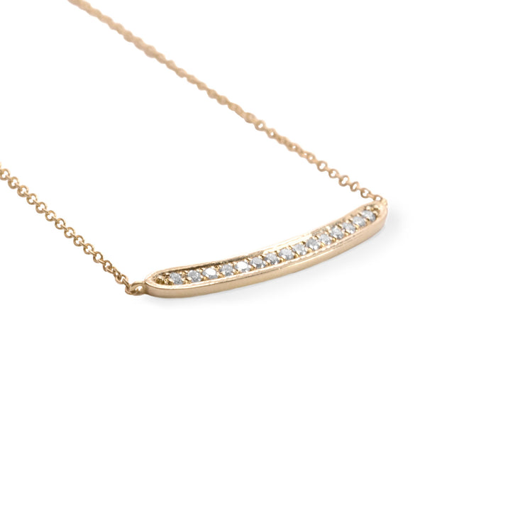 gold necklace with 15 diamonds