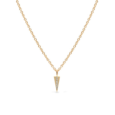 Triangle necklace set with row of diamonds