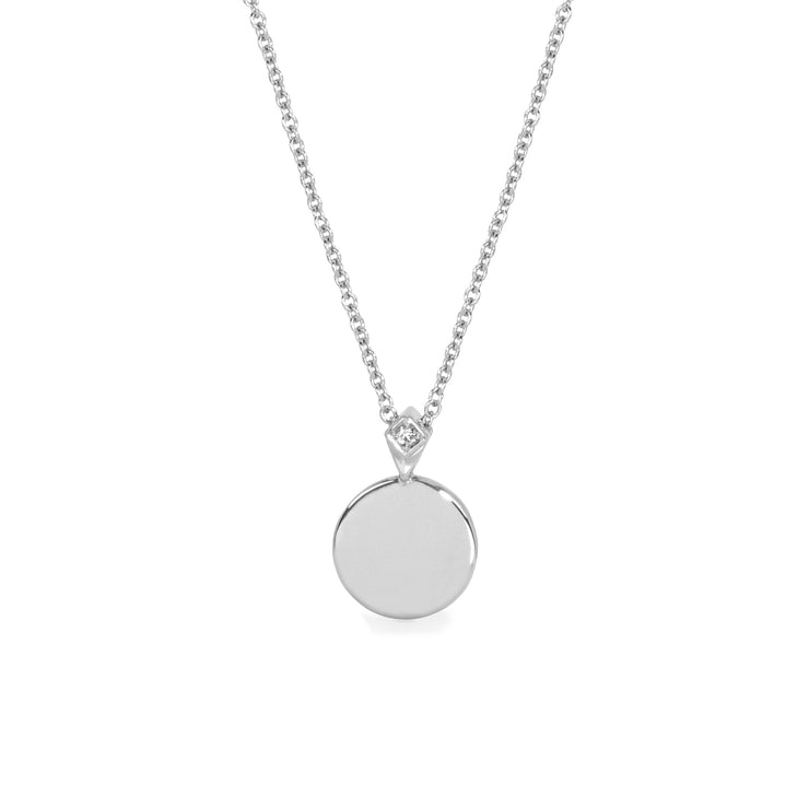 gold coin necklace with white diamond