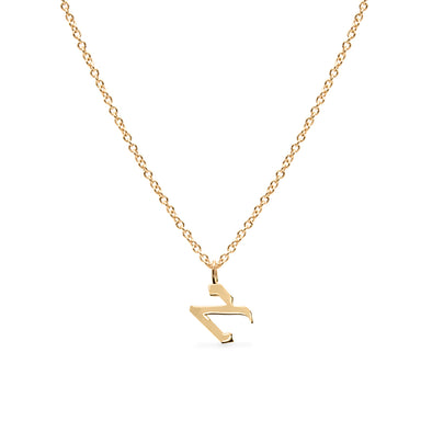 Single Necklace Small Aleph-Bet Pendant Yellow Gold