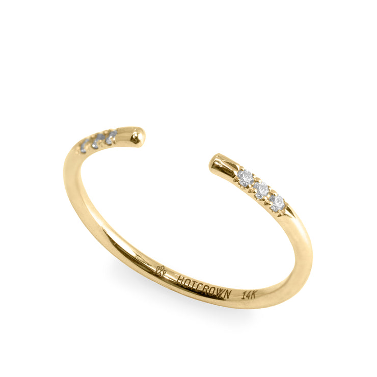 gold open ring with white diamonds