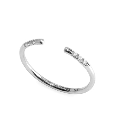 white gold open ring with round diamonds