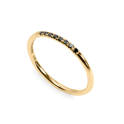 gentle thin ring with black diamonds