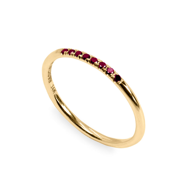 The triple ruby - Audrey Candy and Kelly Gold Rings with rubies