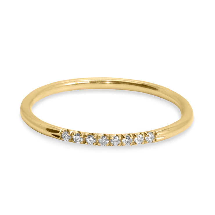 gold ring with diamonds for stacking