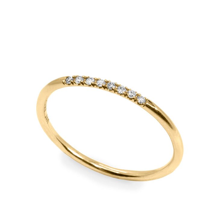 stacking gold ring with diamonds