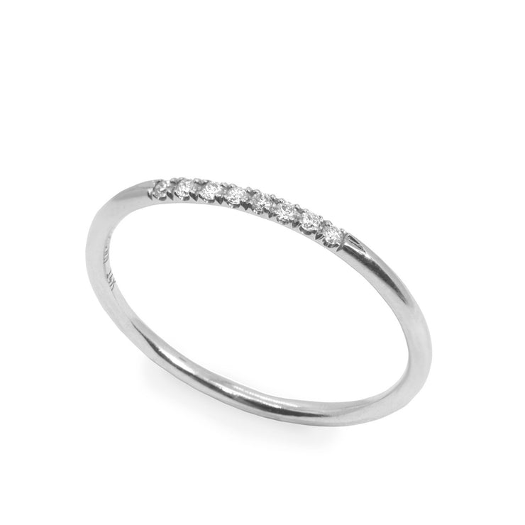 white gold thin ring with diamonds
