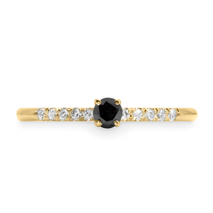 Cindy Gold Ring Black & White diamonds