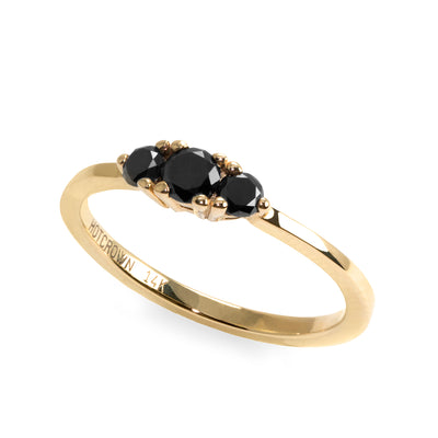 Audrey Gold Ring 3.5 mm Black Diamonds