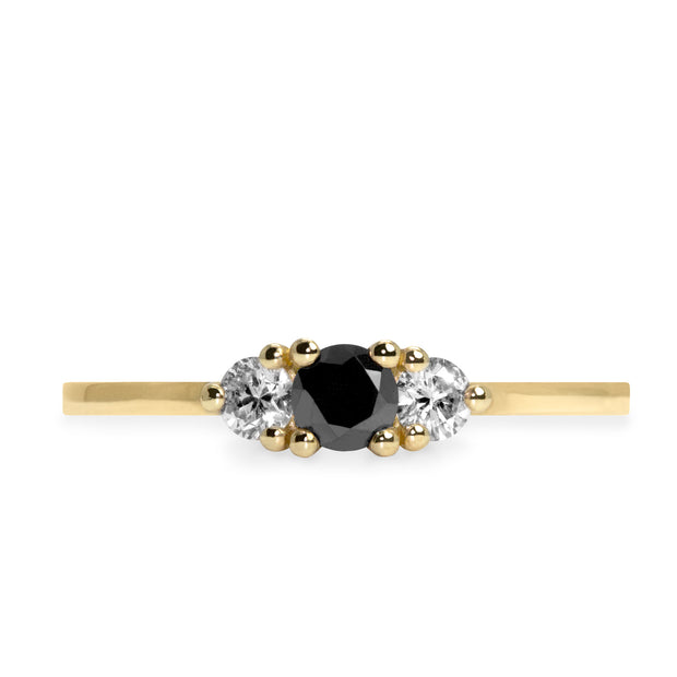 Audrey Ring White & Black 3.5mm Diamonds