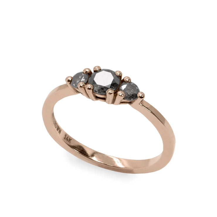 Audrey Gold Ring 4.5mm Grey Diamond