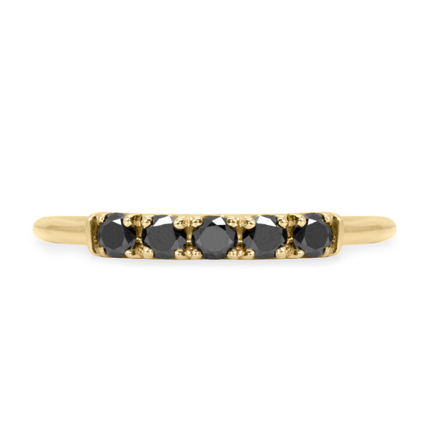gold ring with black diamonds gift for her