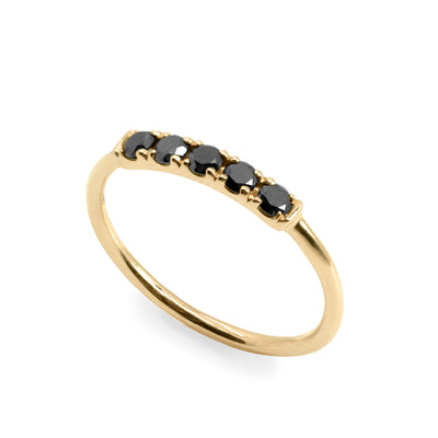 black diamonds gold ring