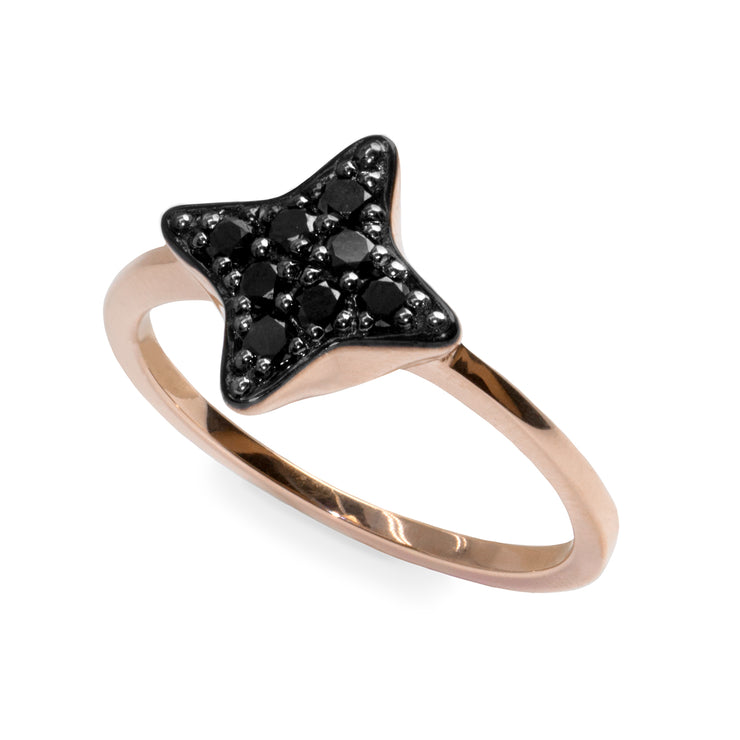 Black star diamond ring