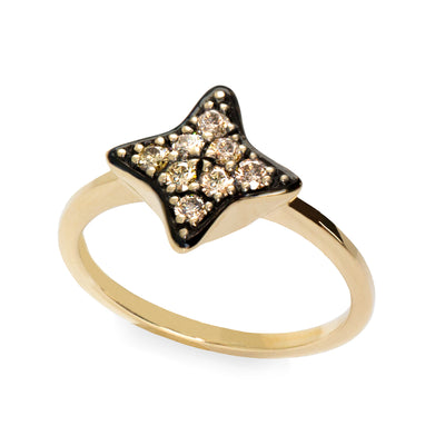Bey ring - black star shaped diamond ring