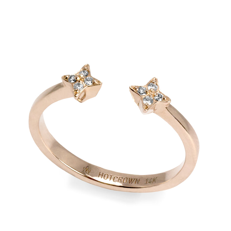 rose gold star shaped open ring