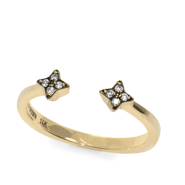 Mercury Open Gold Ring with Diamonds