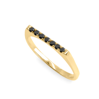 Carrie Gold Ring Black Diamonds