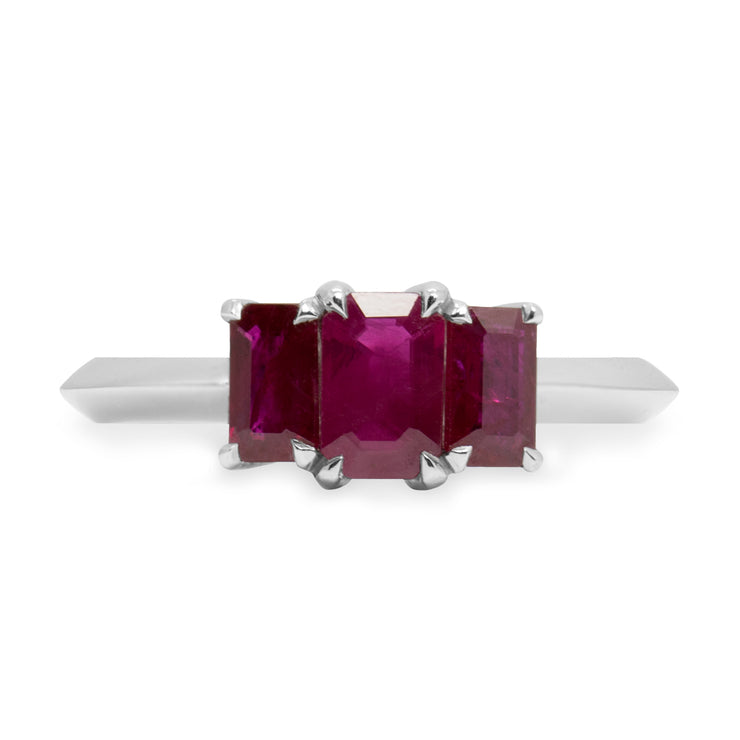 white gold ring with 3 rubies