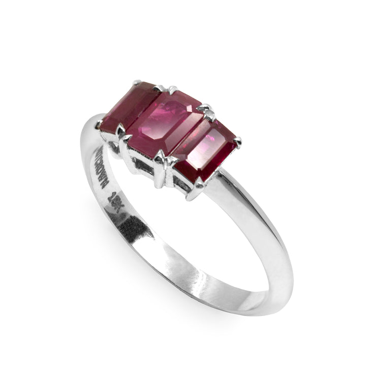 white gold ring with rubies