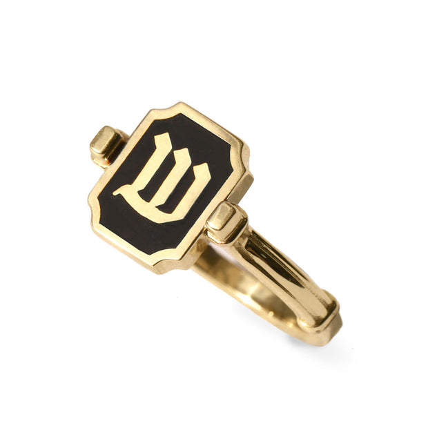 Hebrew letter Enamel Gold Ring