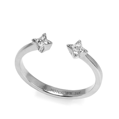 white gold open ring star shaped with diamonds
