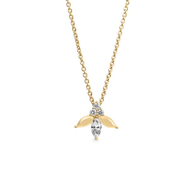 white marquise diamond gold necklace